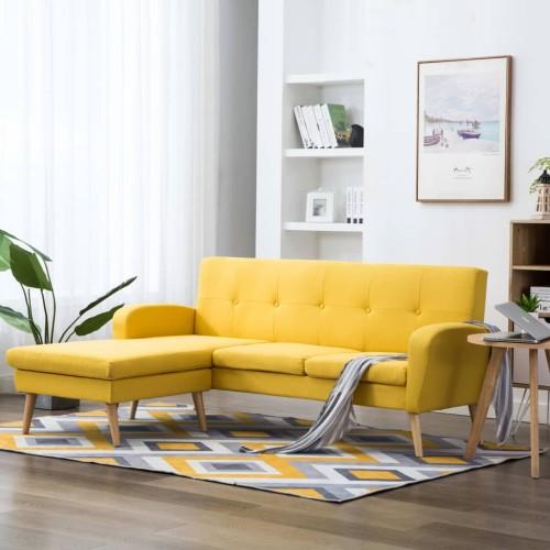 Καναπές Γωνιακός Κίτρινος 186 x 136 x 79 εκ. Υφασμάτινος 246998