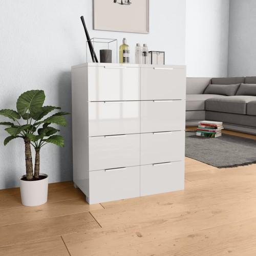 Συρταριέρα Γυαλιστερή Λευκή 60 x 35 x 76 εκ. από Μοριοσανίδα 283712